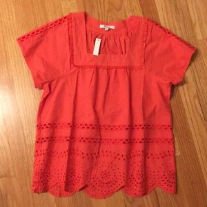 Madewell cotton eyelet blouse NWT